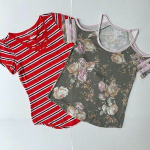 Maurices - LOT of 2 Women's Tops Red and Gray